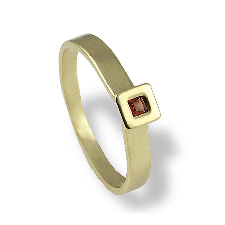 Mariage - Garnet Engagement Ring, Gold Engagement Band, Square Garnet Ring , 14K Yellow gold , Princess Cut ,  Gemstone Engagement Ring , For Women
