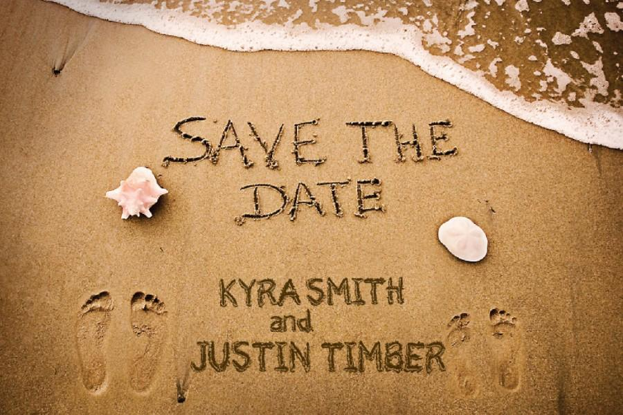 Wedding - Destination Wedding Beach Save the Dates // Names in  Sand // Jamaica Mexico Dominican Cabo//