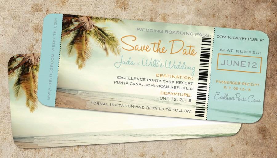 save the date boarding pass ticket vintage blue // destination, Einladungen