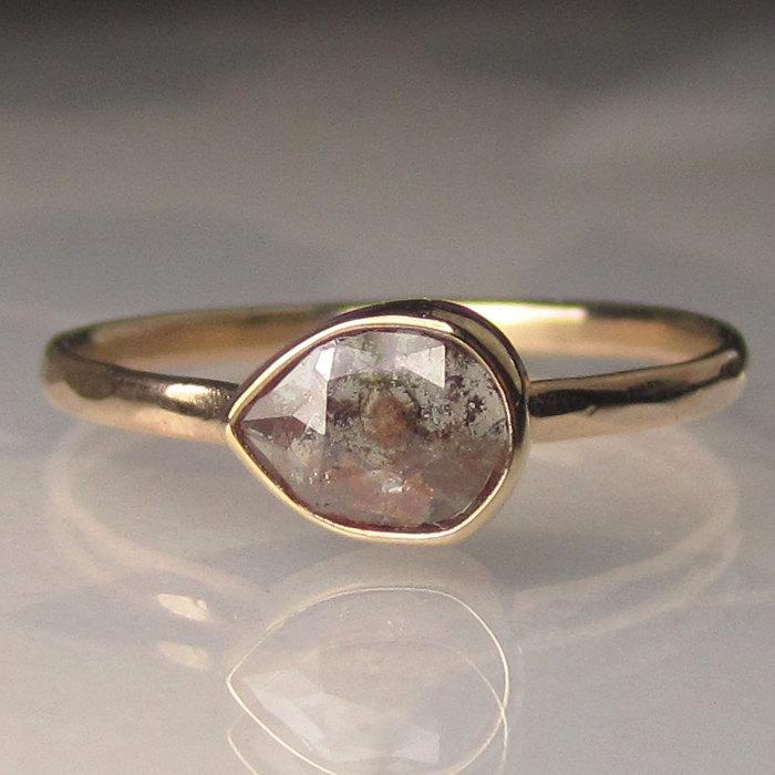 Wedding - Rose Cut  Diamond Engagement Ring - 14k Yellow Gold Red Diamond Ring