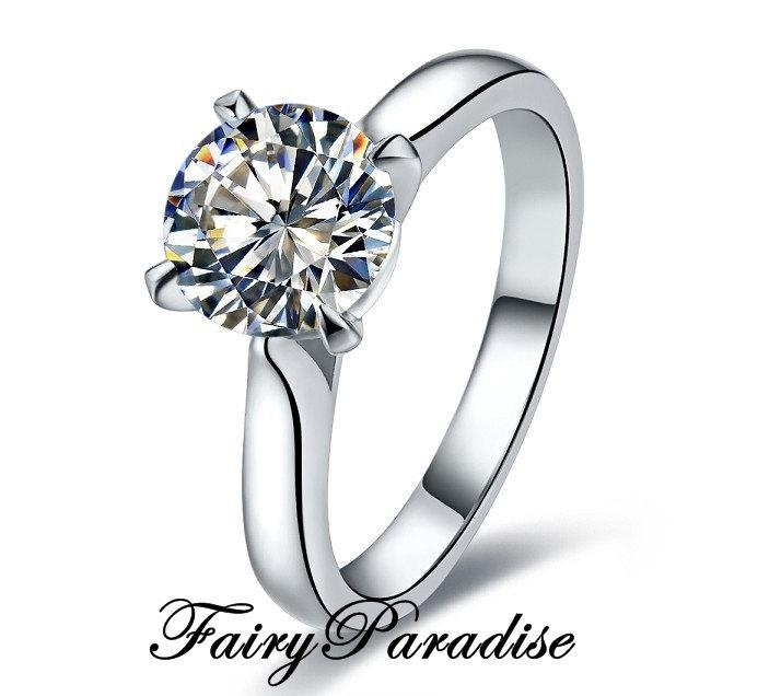 Mariage - Cathedral Set 1 Ct Round Cut lab made Diamond set in a tapered band Classic Solitaire Engagement Wedding Ring with gift box - made to order