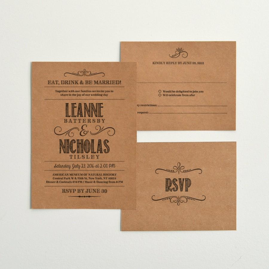 kraft wedding invitation template - 28 images - casual calligraphy ...