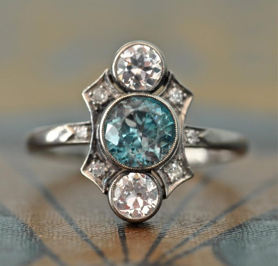Wedding - Art Deco Engagement Ring-Unique Engagement Ring -Blue Zircon Diamond Engagement Ring - 1920s Engagement - Antique Wedding Ring- Aquamarine