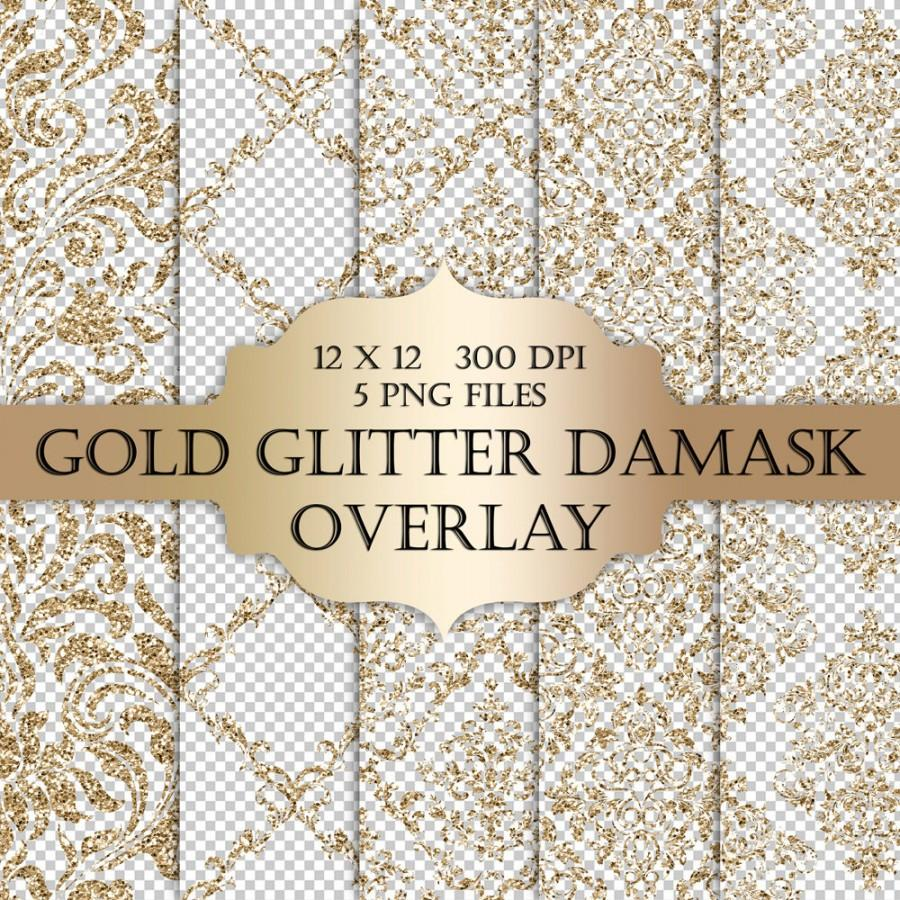 Hochzeit - Gold Glitter Damask Digital Clip Art Overlay  - damask glitter metallic sparkle transparent background for scrapbooking invitations cards