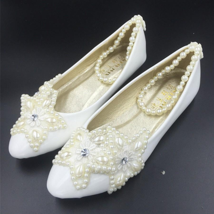 928a447c0d1 Custom Lace Pearls Women Wedding Shoes Low Heels Custom Bridal Shoes ...