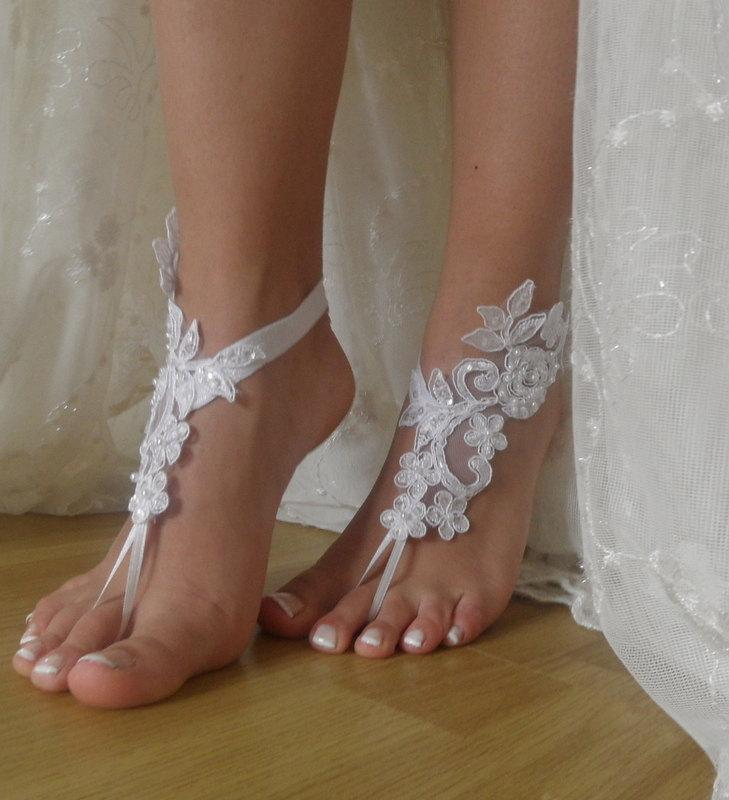 White lace barefoot sandalsnude shoes footjewelrybeach wedding white lace barefoot sandalsnude shoes footjewelrybeach weddinglace wedding shoesbridal anklet junglespirit Images