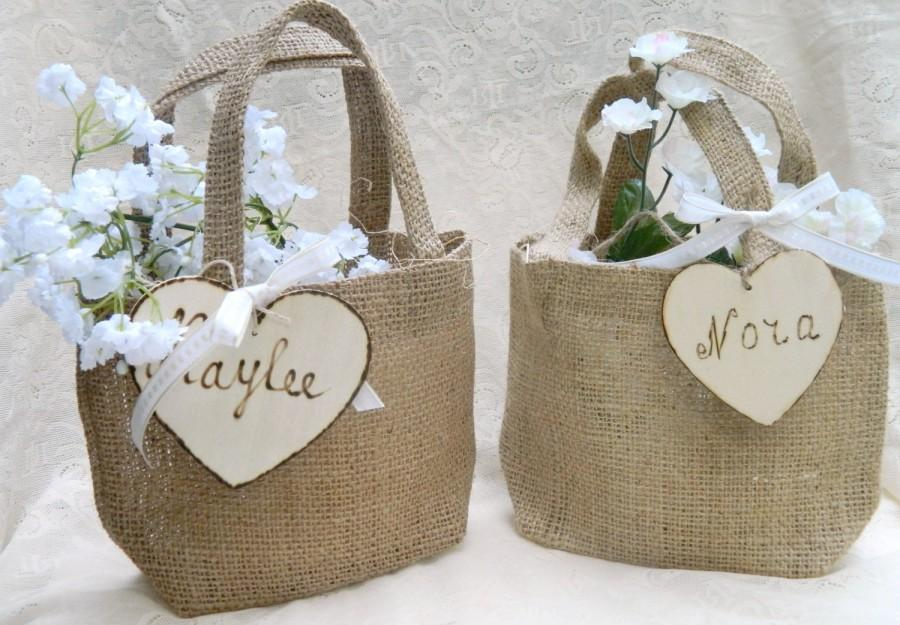 Wedding - Burlap Flower Girl Small Basket Personalized Wooden Heart , Rustic, Shabby Chic bridesmaid favor bag