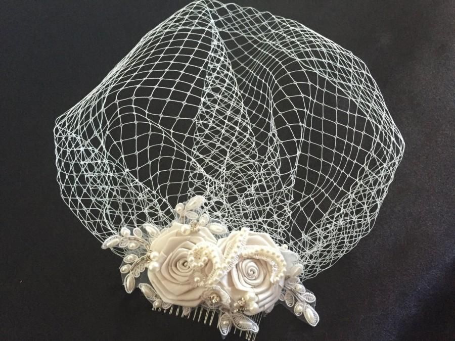 Wedding - Ivory Birdcage Veil- Ivory pearl, Crystal Bridal Fascinator-Wedding Headpiece