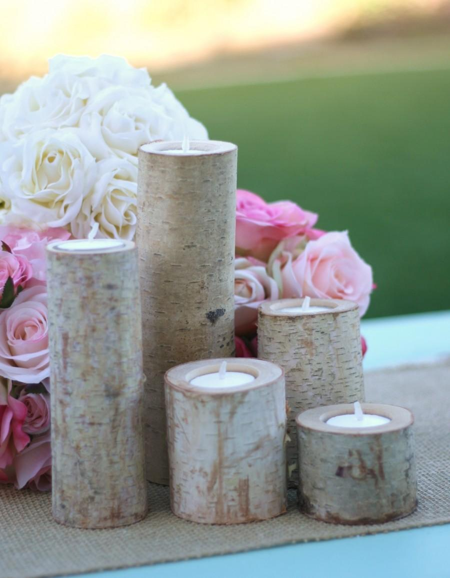 Mariage - 5 pc SET Centerpiece Birch Bark Log Votive Tea Light Candle Holders (item M10498)