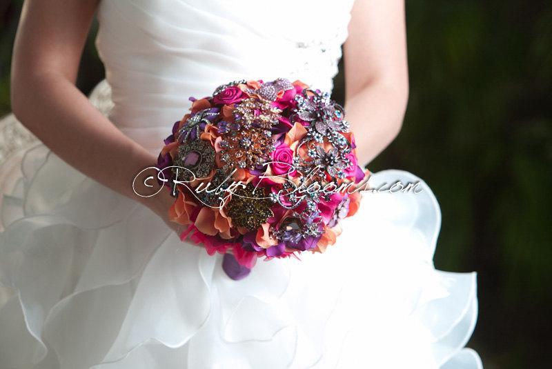 "Hochzeit - Autumn Orange Purple Wedding Brooch Bouquet. ""Indian Summer II"" Purple Brooch Bouquet. Crystal Heirloom Bridal Broach Bouquet, Ruby Blooms"