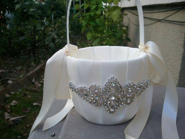 Wedding - SALE - Wedding Flower Basket, Flower Girl Basket, Rhinestone Flower Basket  - Style BK1012