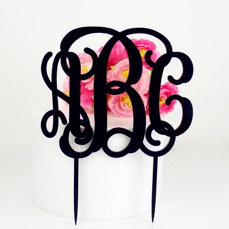 Hochzeit - Monogram Cake Topper Personalized Wedding Cake Topper Charm Aacrylic Cake Stand -1513