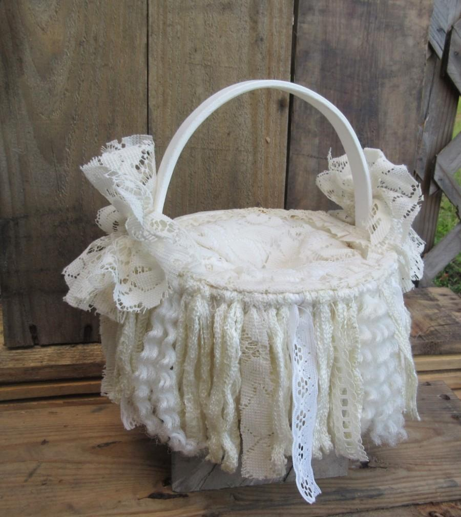 A must buy for your wedding a stunning victorian shabby chic white a must buy for your wedding a stunning victorian shabby chic white ivory tattered material and lace ring bearer basketoriginal hand done izmirmasajfo