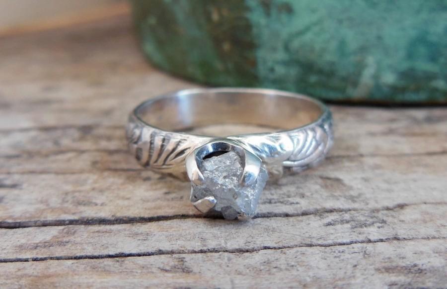Hochzeit - Diamond Engagement Ring - Sterling Silver Gemstone Ring - Rough Diamond Ring - Size 6