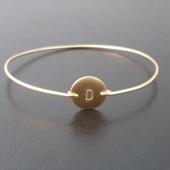 Mariage - Personalized Gold Bracelet, Personalized Bracelet, Monogram Initial Bracelet, Gold, Hand Stamped Bracelet, Custom, Gold Stamped Bracelet