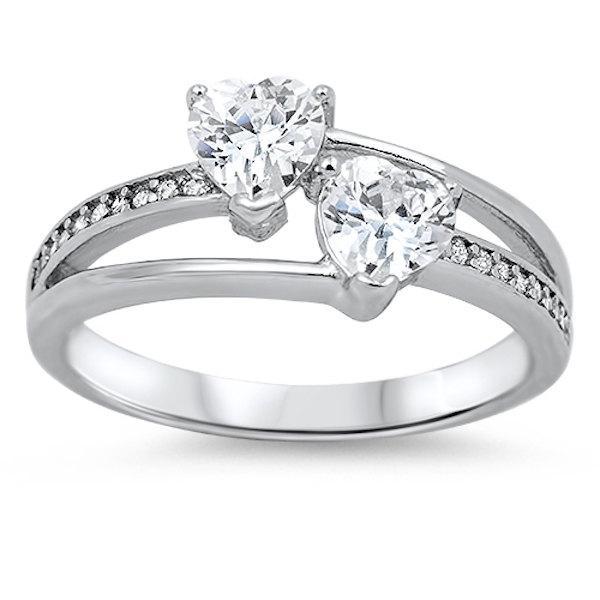 زفاف - Solid 925 Sterling Silver 1.50 Carat Double Heart Round Shape White Clear Russian Diamond CZ Promise Ring  Love Valentines Gift