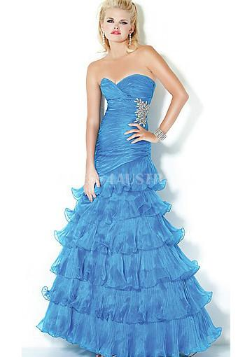 Mariage - Buy Australia Empire Mermaid Multi-layer Royal Blue Pleated Organza Long Evening Dress/ Prom Dresses By JIGowns JO-30010 at AU$166.06 - Dress4Australia.com.au