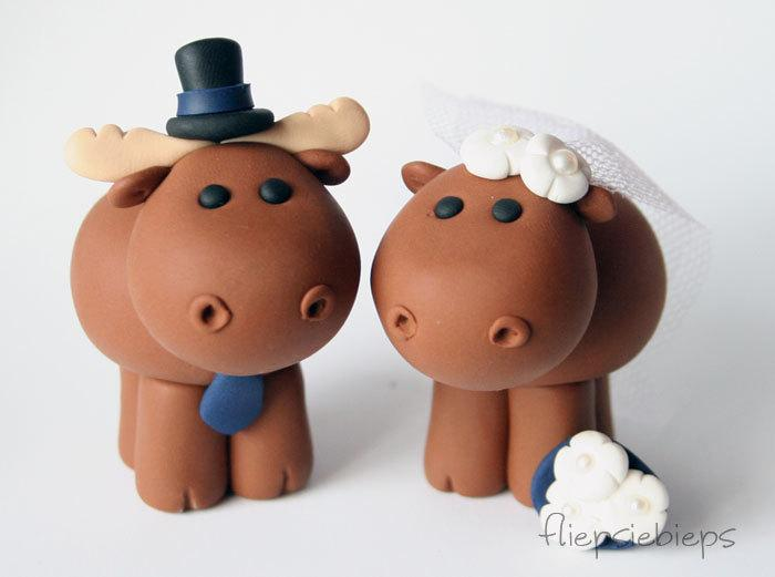 Свадьба - Custom Moose Wedding Cake Topper
