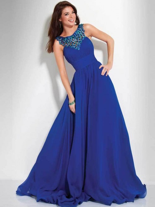 Wedding - New Slim Empire A-line Royal Chiffon Long Dresses