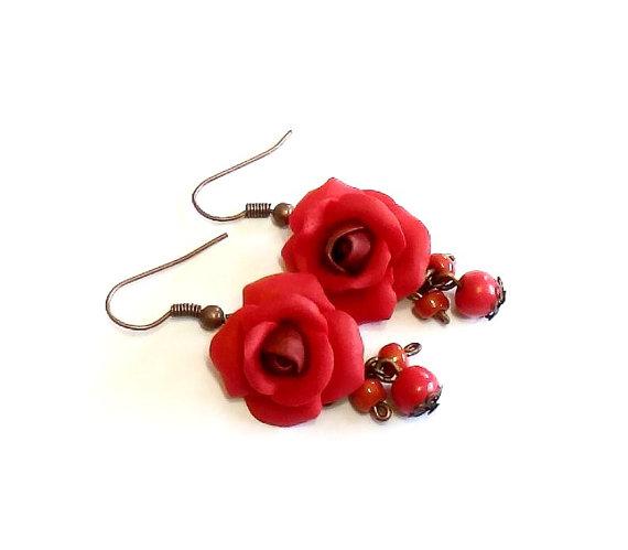 Wedding - Red Rose Drop Earrings, Red Flower Drop Earrings, Jewelry Red Rose, Red Rose Wedding Earrings