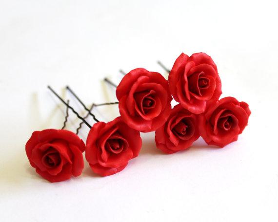 3370e8268 Set of 6 - Red roses, Wedding Hair Accessories, Bohemian Wedding Hairstyles Hair  Flower, Bridal hair pin