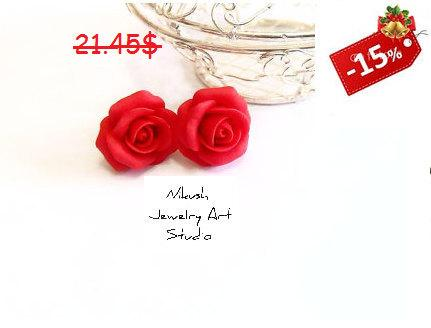 Wedding - Red Rose Earrings, Small Flower Stud Earrings, Vintage Style Floral Retro Jewelry, Womens Fashion Accessories,Wedding,Bridesmaids Earrings