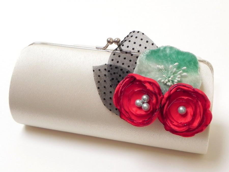 Mariage - Bridal Clutch Bridesmaidf Clutch Rockabilly Retro Clutch in Ivory - Cherry Red & Velvet Aqua Flower Blooms - Bouquet Clutch - 50's Glam