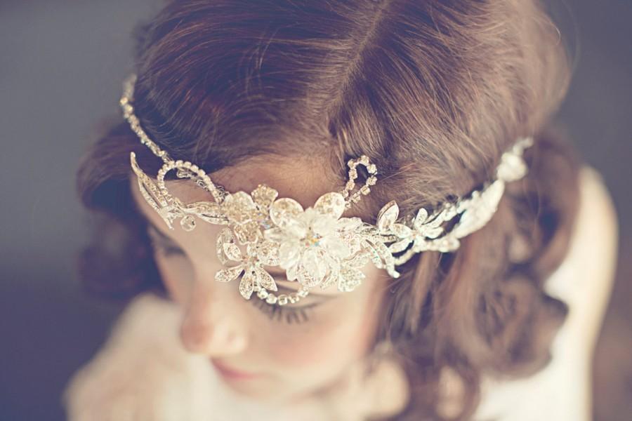 Mariage - Gold bridal vine halo, crystal rhinestone flower and rhinestone leaf bridal halo, Encrusted with rhinestones, and gold plated