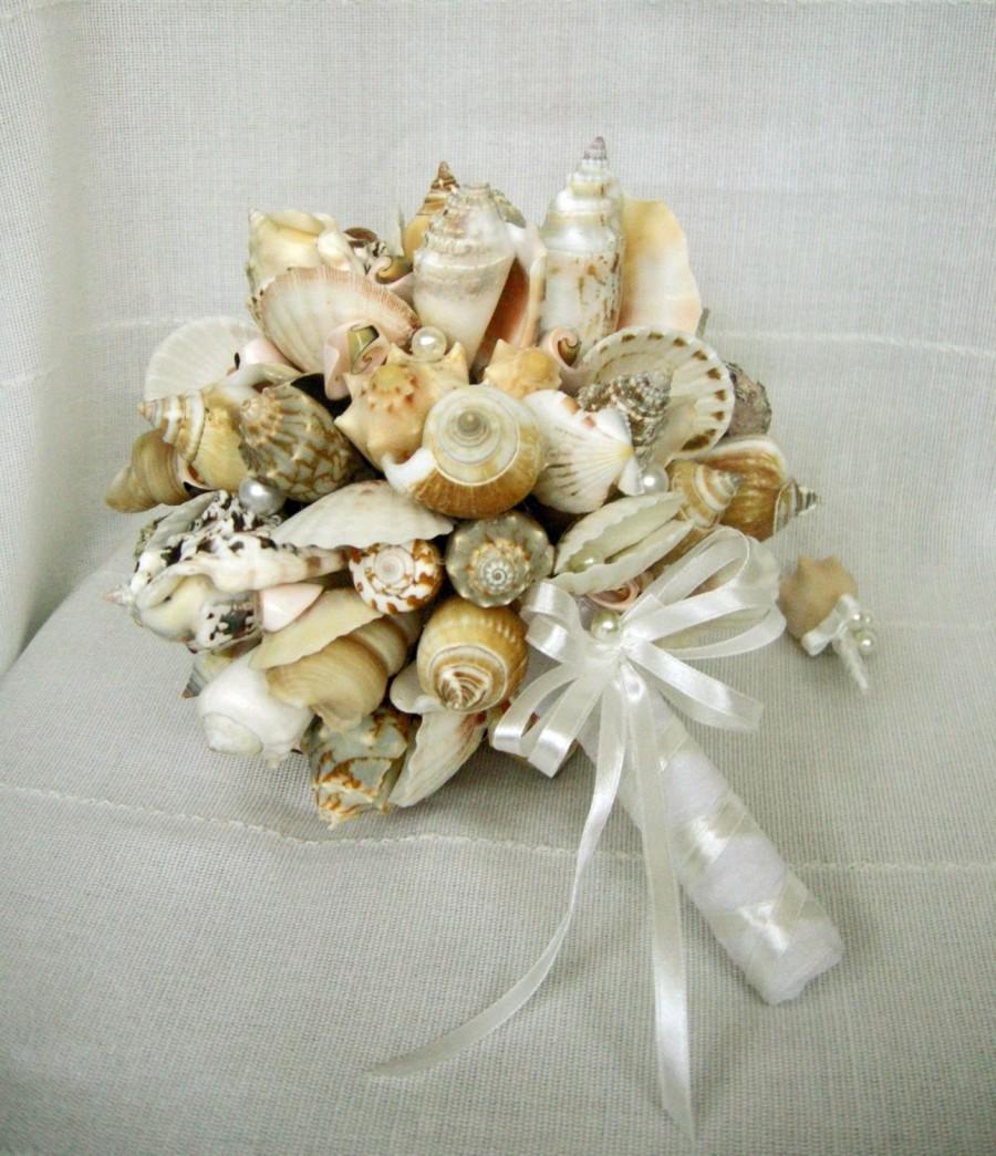 Mariage - Sea shell bouquet, Bridal bouquet Sea , Beach wedding, Wedding bouquet Handmade, Nautical, Coastal wedding. Seaside Wedding