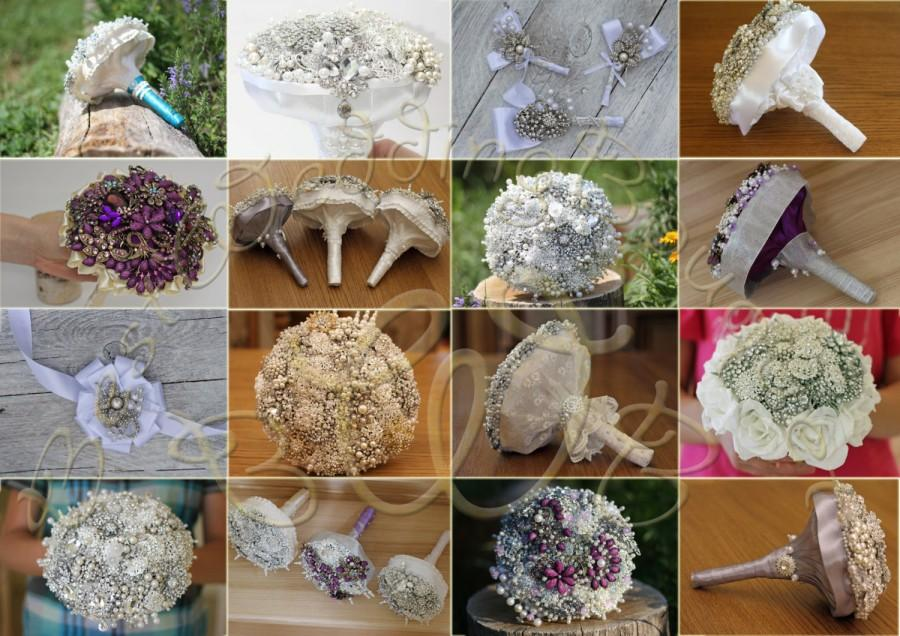 Свадьба - Brooch bouquet kit. Ivory and Silver crystal wedding brooch bouquet.