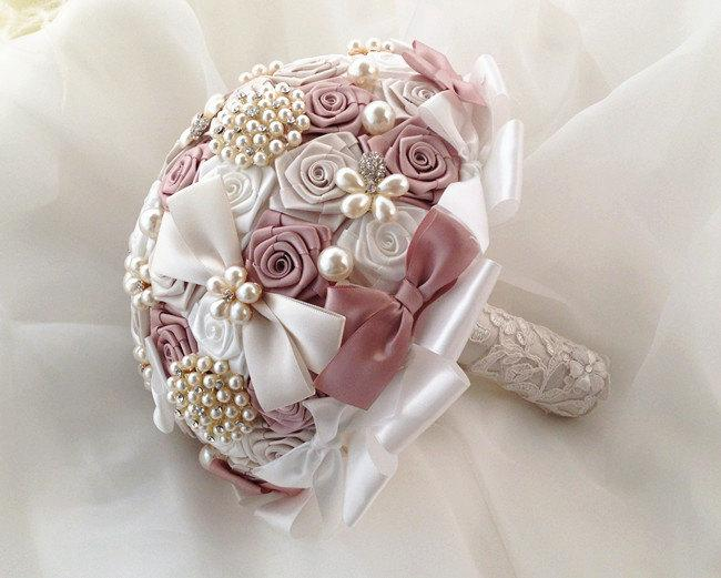 """Свадьба - Wedding brooch Bouquet Unique Crystal satin  Bridal Broach Bouquet, pearl Bouquet Dusty pink/ ivory color combo 8"""""""