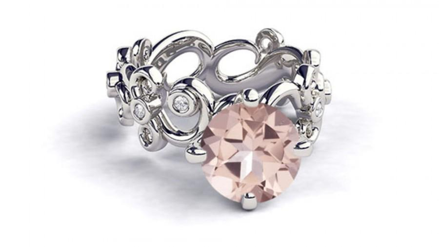 Mariage - Art Deco Engagement Ring, 18K White Gold Morganite Ring, 1.03 TCW Morganite Engagement Rings, Unique Rings, Vintage Rings