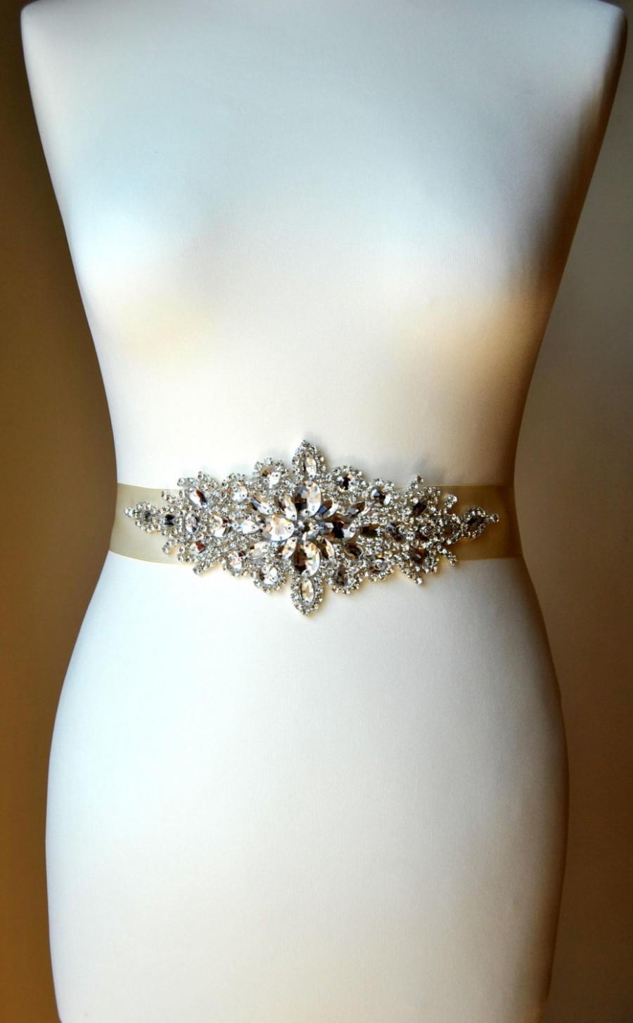Mariage - Luxury Crystal Bridal Sash,Wedding Dress Sash Belt,  Rhinestone Sash,  Rhinestone Bridal Bridesmaid Sash Belt, Wedding dress sash