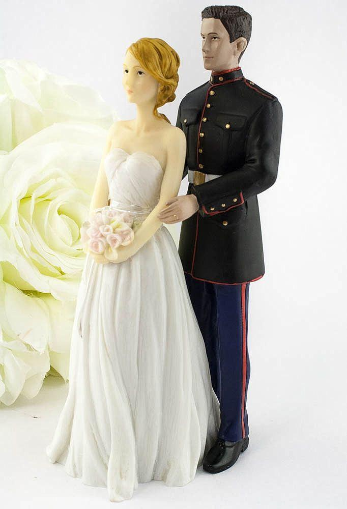 Свадьба - Marine Wedding Cake Topper - Caucasian Bride and Groom - 702230/702220