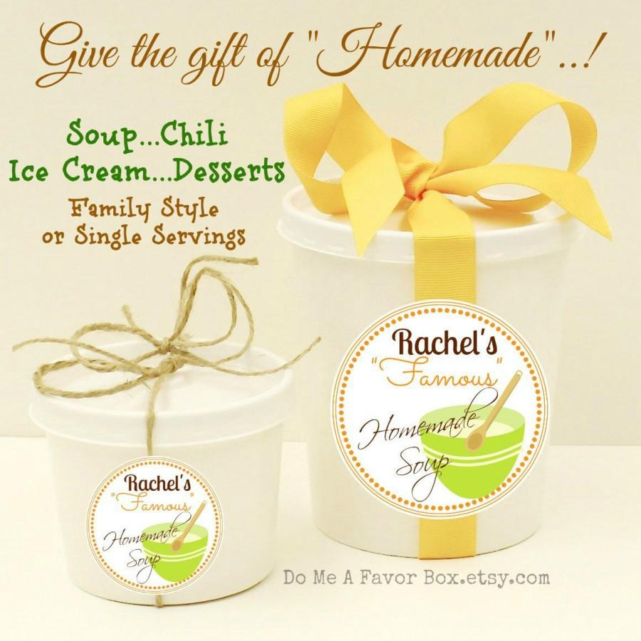 Food Favors, Soup Or Chili Containers With Personalized Labels, Rustic  Wedding, Hostess Gift, Wedding Favor, Baby Shower Favors, Soup Cups