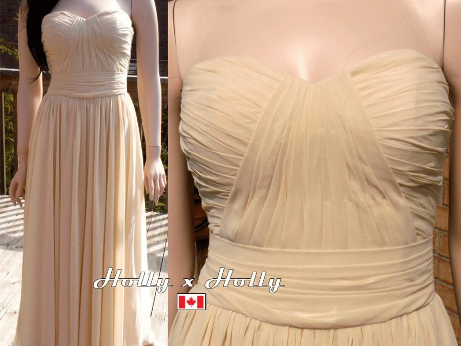 Wedding - Champagne bridesmaid dress chiffon prom dress, Long/short available