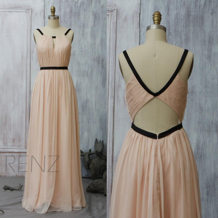 Boda - 2015 Peach Bridesmaid dress, Blush Wedding dress, Long Party dress, Evening dress, Elegant dress, Formal dress, Prom Dress (F066A2)