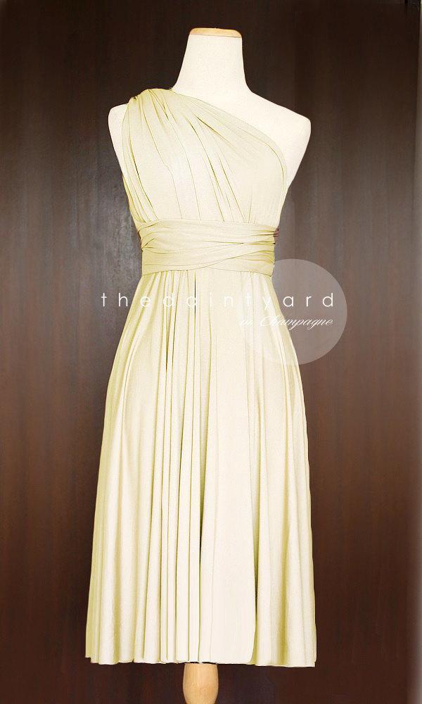 Hochzeit - Short Straight Hem Champagne Infinity Dress Multiway Dress Bridesmaids Dress Convertible Dress Wrap Dress Prom Dress Cocktail Evening Dress
