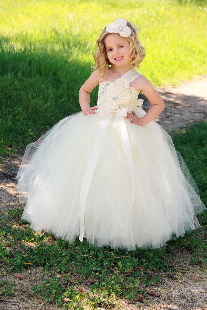 Hochzeit - Ivory Flower Girl Dress - Ivory Tutu Dress