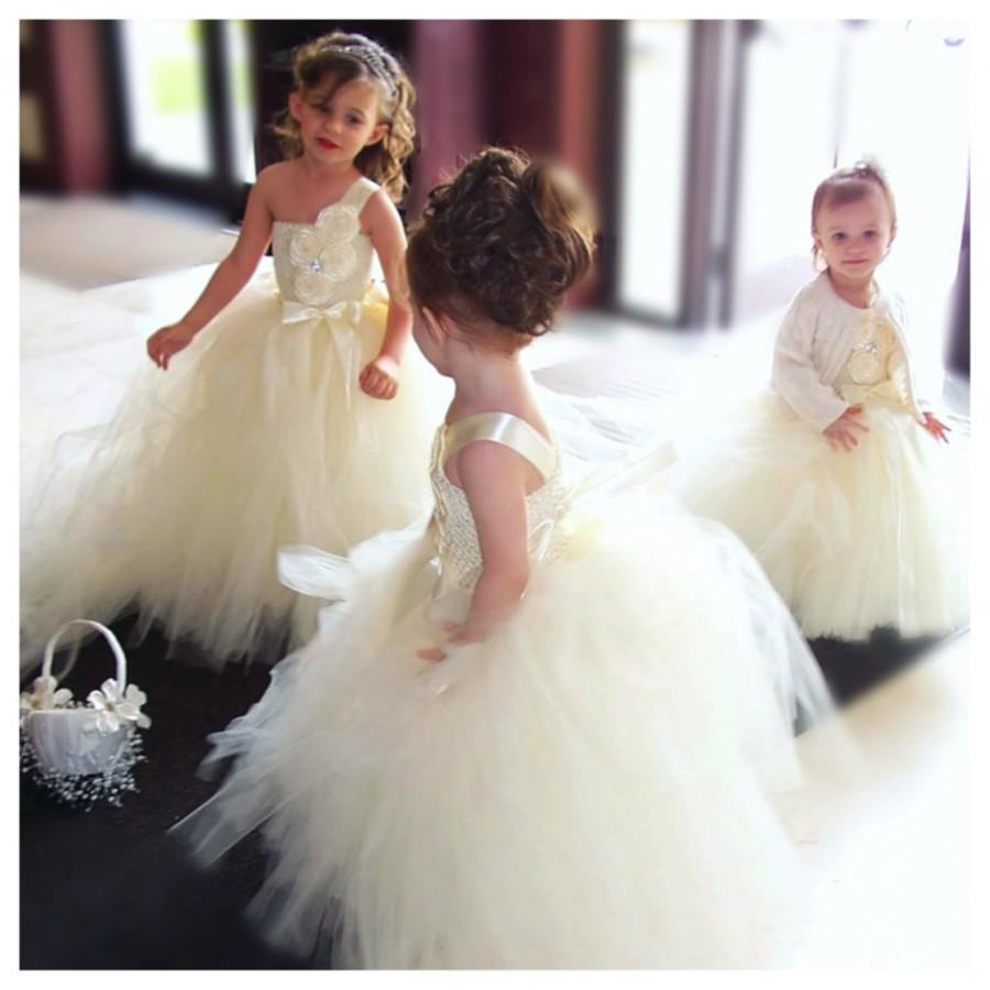 Hochzeit - Ivory Flower Girl Dress - Ivory Tutu Dress