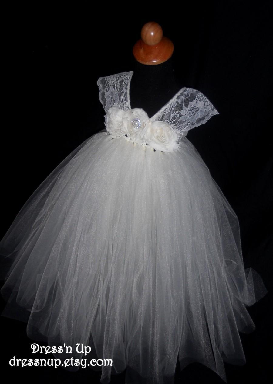 Hochzeit - Flower Girl Tutu Dress Ivory Lace, Wedding, Vintage Inspired Flower Girl Dress,  Girl's 2T-5T