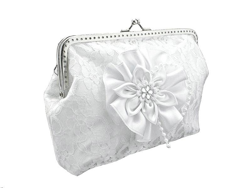 Mariage - bride lace handbag, bridal white clutch bag, womens white lace purse bag in wedding, formal, vintage style, bridesmaid clutch handbag 0450