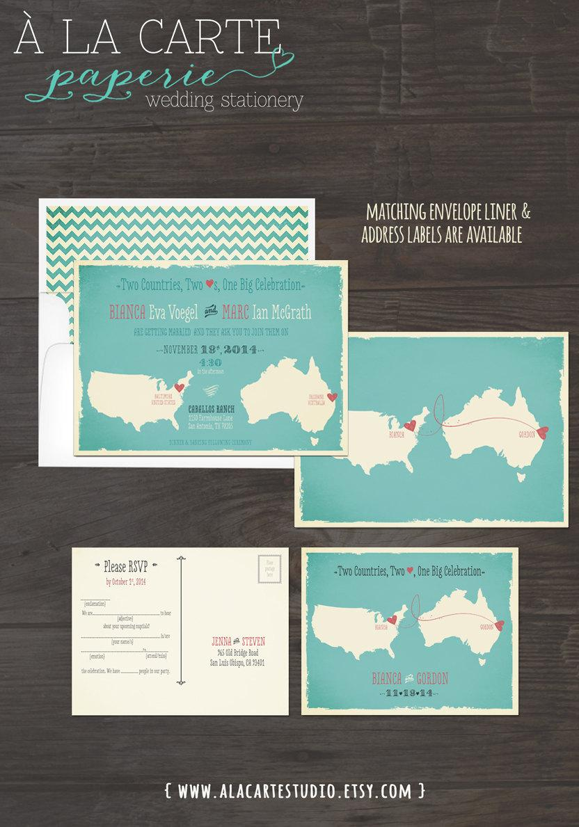 map style wedding invitation two countries two hearts one big