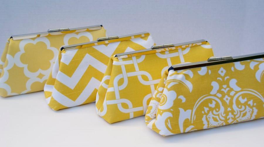 Hochzeit - Yellow Bridesmaids Gift Handbag Clutch for Bridal Party Gift- Design your Own