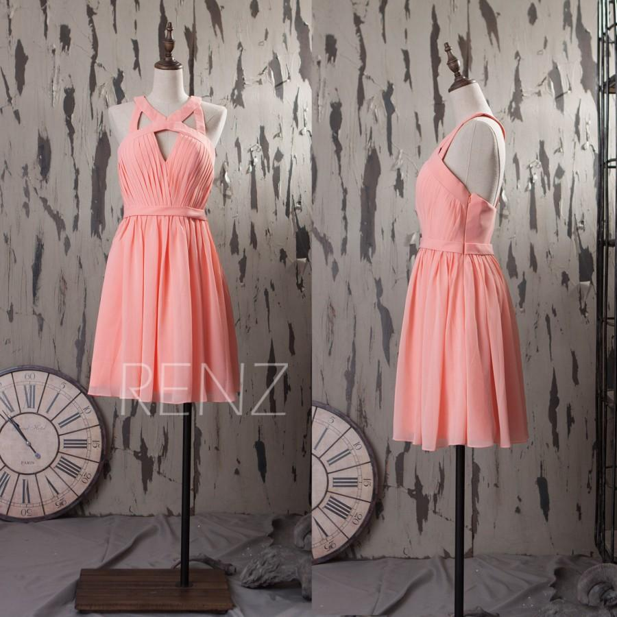 Hochzeit - 2015 Pink Chiffon Bridesmaid dress, Coral Wedding dress, Short Bush Pink Party dress, a line Formal dress, Prom dress knee length (F046B)