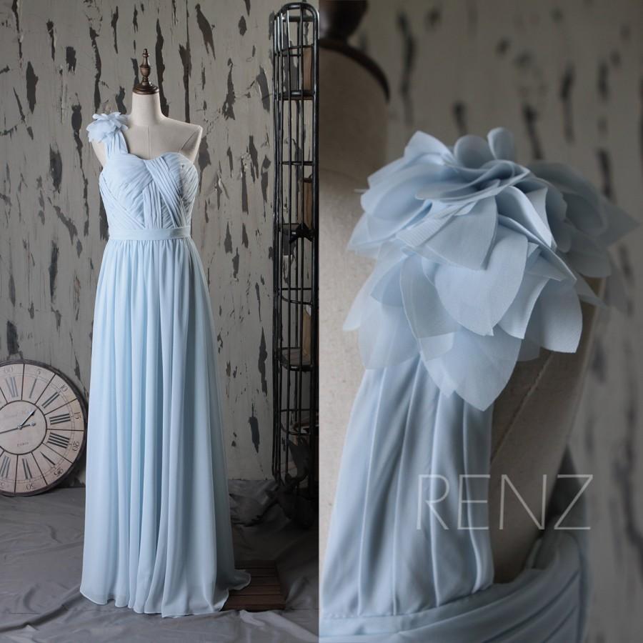 2015 Light Blue One Shoulder Bridesmaid Dress Backless Wedding