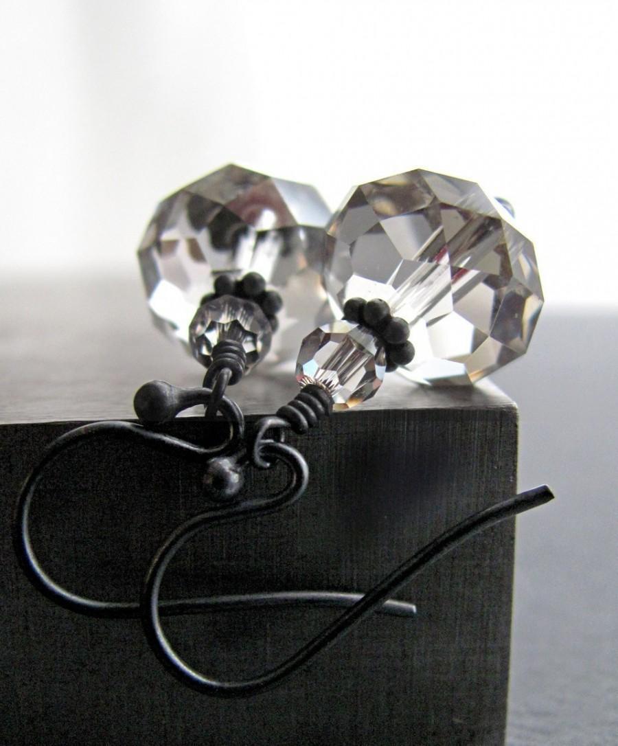 Mariage - Diamond in the Rough Crystal Earrings, Swarovski Crystal Clear, Oxidized Sterling Silver, Modern Bridal Jewelry, Wedding Jewelry Earrings