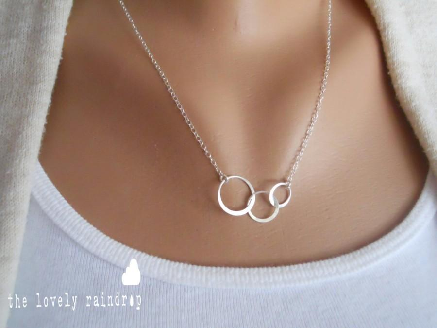 Mini Sterling Silver Triple Circle Necklace Dainty Minimal Simple