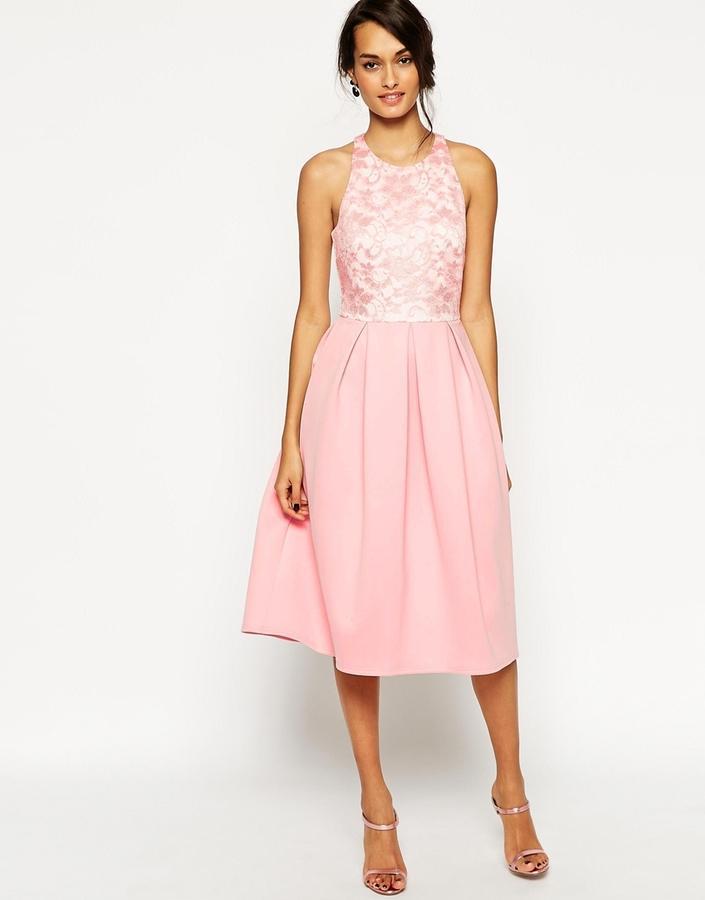 زفاف - ASOS COLLECTION ASOS Lace Top Scuba Debutante Midi Dress