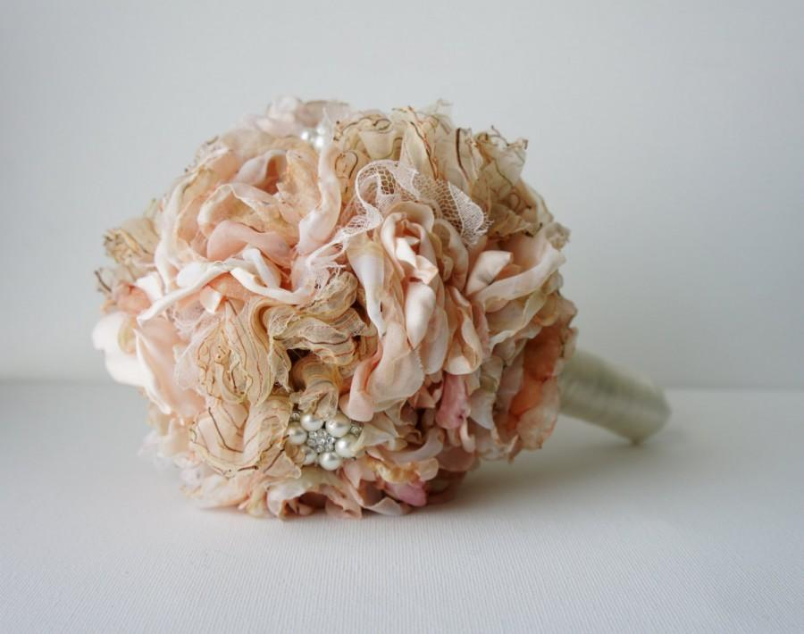 زفاف - Bridal Bouquet, Brooch Bouquet, Fabric bouquet, Brooch Bouquet, Fabric Flower Wedding Bouquet, Silk Blush Pink Flowers Rhinestone and Pearl